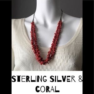 STERLING SILVER AND CORAL DOUBLE STRAND NECKLACE
